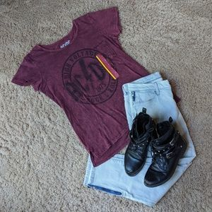 ACDC Burgundy Band Tee w/ front pocket - Size S